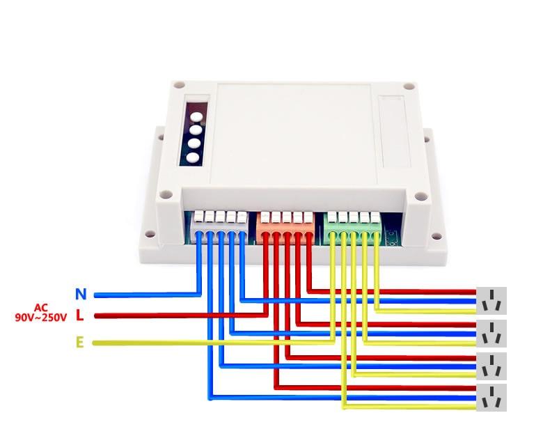 Умное беспроводное Wi-Fi 4-х канальное реле Sonoff
